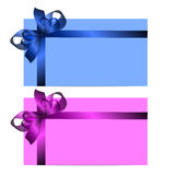 Gift cards with realistic colorful ribbons stock illustration
