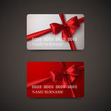 Gift Cards With Red Bow And Ribbon. Vector Illustration. Gift Or Credit Card Design Template Royalty Free Stock Photography