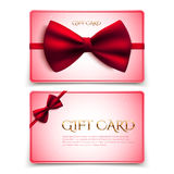Gift cards with red bow Royalty Free Stock Photography