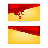 Gift cards with ribbons. Invitation card Stock Photos