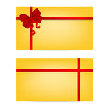 Gift cards with ribbons. Invitation card Stock Photo