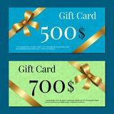 Gift Cards on 700 500 Set of Posters Gold Ribbons. Gift cards on 700 500 set of posters with gold ribbons and bows on abstract color backgrounds. Voucher Royalty Free Stock Photography