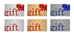Gift Cards in Silver Gold and Platinum. With red and blue bows and ribbons modern metal look with space for company logo stock illustration