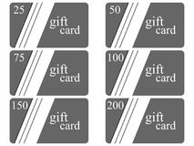 Gift cards in the style of material design with shadows. Layers of cut paper. The cards cost in 25, 50, 75 100, 150, 200. Vector. Illustration Stock Image