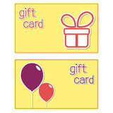Gift cards. Templates with present box and balloons stickers Stock Photos