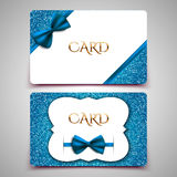 Gift cards vector card template, blue bow and glitter. Gift cards vector card template, club member card, blue bow and glitter Stock Photo