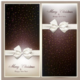 Gift cards with white bow. Royalty Free Stock Image
