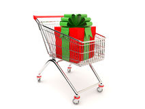 Gift in the cart Royalty Free Stock Photography