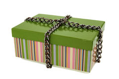 Gift carton and chain. Royalty Free Stock Photography