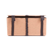 Gift carton with leather laces. Royalty Free Stock Photo