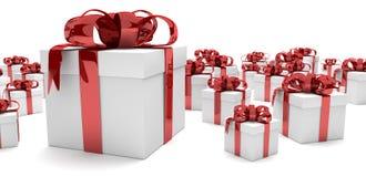 Gift Cartons Red Ribbons Header Royalty Free Stock Photo