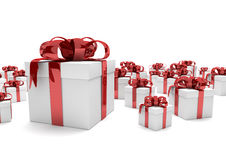 Gift Cartons Red Ribbons Royalty Free Stock Photography