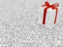 Gift Surreal Shredded. Gift celebration holiday large surreal shredded fragments 3d illustration, white horizontal background Royalty Free Stock Photography
