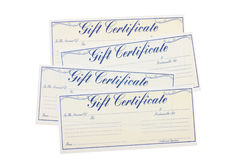 Gift Certificate. Four gift certificates isolated on a white background, gift certificate Royalty Free Stock Photos