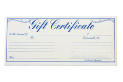 Gift Certificate. A gift certificate isolated on a white background, gift certificate royalty free stock image