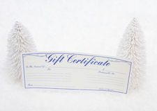 Gift Certificate. White evergreen trees sitting with a blank gift certificate with a snow background, gift certificate royalty free stock image
