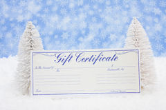Gift Certificate. White evergreen trees sitting with a blank gift certificate with a blue snowflake background, gift certificate royalty free stock images