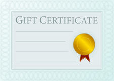Gift Certificate. Blank Gift Certificate Document With Golden Seal - vector Royalty Free Stock Image