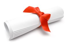 Gift Certificate. Rolled certificate with a red ribbon isolated on a white background Stock Images