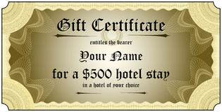 Gift Certificate. With nice guilloche patterns for a unique and original look Stock Images