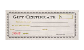 Gift Certificate. Isolated Gift Certificate stock images