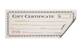 Gift Certificate. Isolated Gift Certificate royalty free stock photo