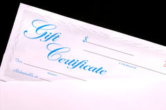 Gift Certificate. In an Envelope royalty free stock image