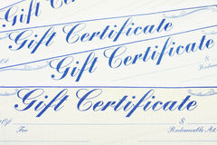 Gift Certificate Background. A lot of gift certificates making a background, gift certificate background stock photography