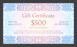 Gift certificate with bubble texture in background Stock Image