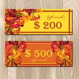Gift certificate card template with peacock feathers design. Stock Photography