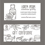Gift certificate with cosmetic bottles. Organic cosmetics illustration. Doodle skin care items. Herbal hand drawn set. Spa elements in sketchy style. Bio cream Royalty Free Stock Photos