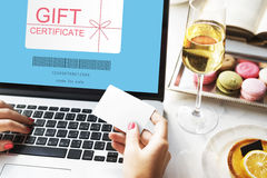 Gift Certificate Coupon Shopping Concept. Technology Online Gift Voucher Concept royalty free stock photo
