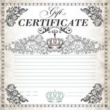 Gift certificate design with swirls and crown stock illustration