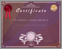 Gift certificate, diploma, coupon, award of course completion Stock Image