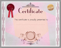 Gift certificate, diploma, coupon, award of course completion Stock Photos