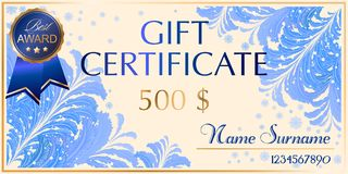 Gift certificate in frosty style royalty free illustration
