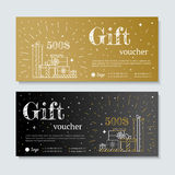Gift certificate with gifts Royalty Free Stock Photos