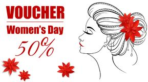 Gift certificate for a girl on March 8. Gift certificate with red papercut flowers in hair and girl on Women s day Stock Photo