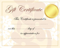 Gift certificate Stock Image