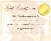 Gift certificate. Illustration of gift certificate border frame Stock Image