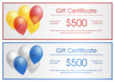 Gift certificate with party baloons Stock Photography