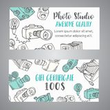 Gift certificate for photo studio or photographer. Hand drawn doodle cartoon retro photo cameras, vector illustration. Sketchy photo theme design Royalty Free Stock Images