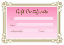 Gift Certificate Pink Gold Stock Photos