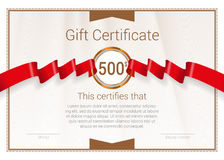 Gift Certificate with red award ribbon. Vector template stock photos