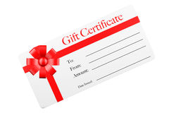 Gift Certificate with Red Ribbon and Bow. 3d Rendering Stock Image