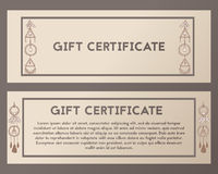 A gift certificate is richly decorated. Voucher beige with hand drawn, stone. Vector boho illustration. Royalty Free Stock Images