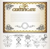 Gift certificate set with decorative calligraphic elements royalty free illustration