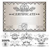 Gift certificate set  with decorative calligraphic elements for Stock Image