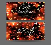 Gift certificate with sparks and hearts on a dark background. Festive offer. Valentine`s Day. Template for your creativity Royalty Free Stock Images