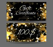 Gift certificate with sparks and stars on a dark background. Festive offer. Template for your creativity Royalty Free Stock Photos